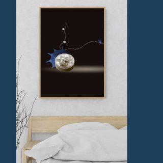 Visual poem title: Contortions Genre: marine Ikebana poetry Link in bio  #marineikebanapoetry #marineikebana #artphotography  #artprints #photobook #diamonddust #beautifulart  #blue #brown #beige #roomdecor  #wallhanging